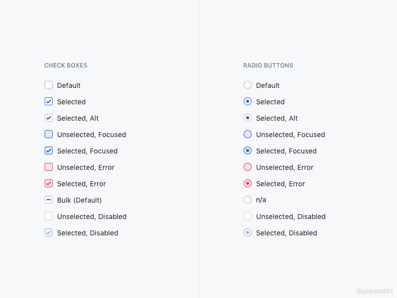 Check Boxes and Radio Button Styles Sketch freebie