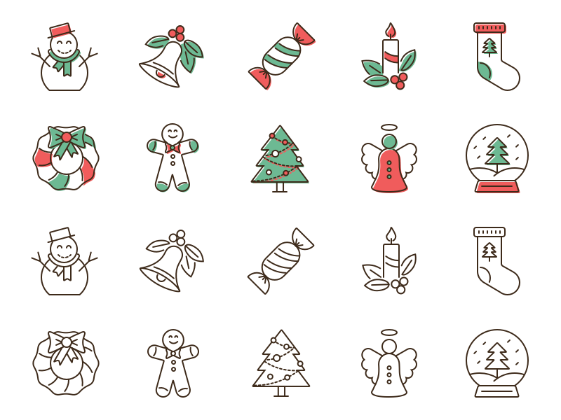 20 Christmas Outline Icons