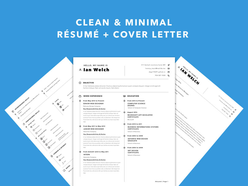 Clean Resume Template Sketch Freebie - Download Free Resource For
