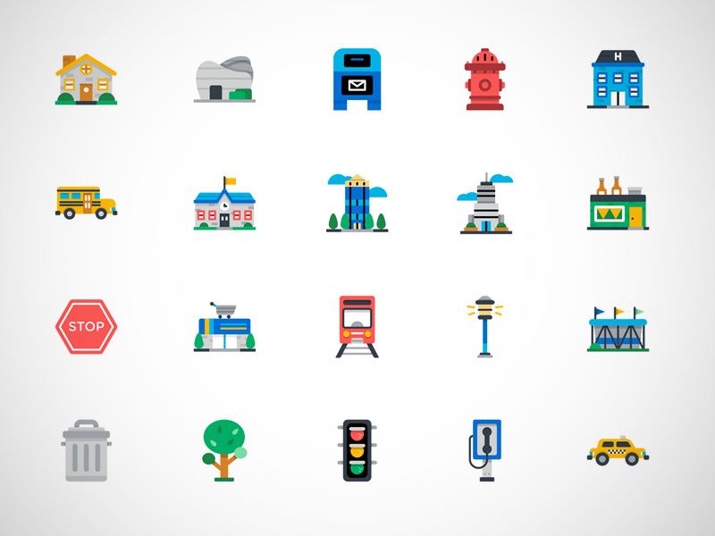 50 Colorful City Icons
