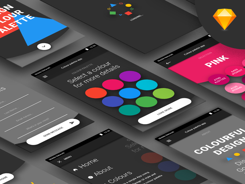 android color palette app sketch freebie - download free resource