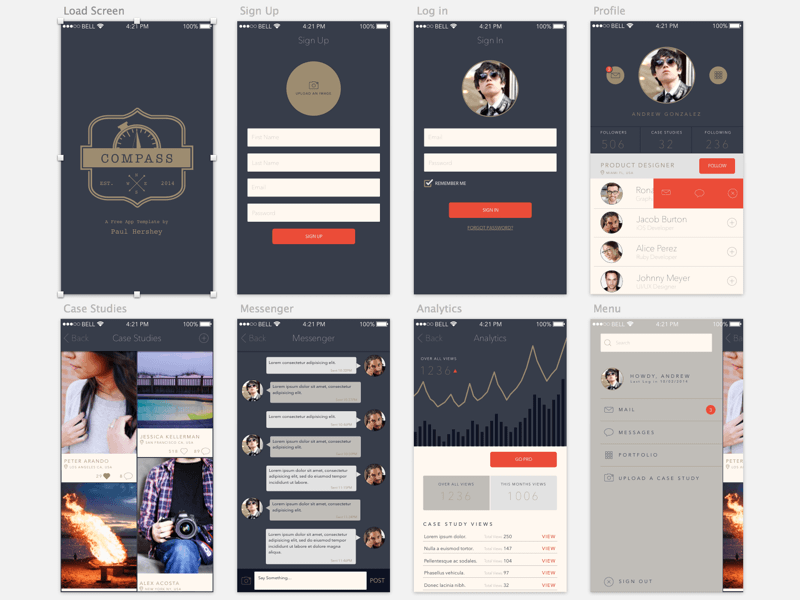 Compass a free app template for sketch for App templates free