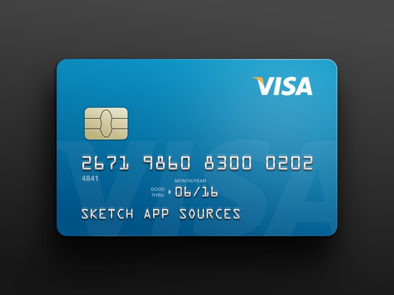 visa credit card template sketch freebie free
