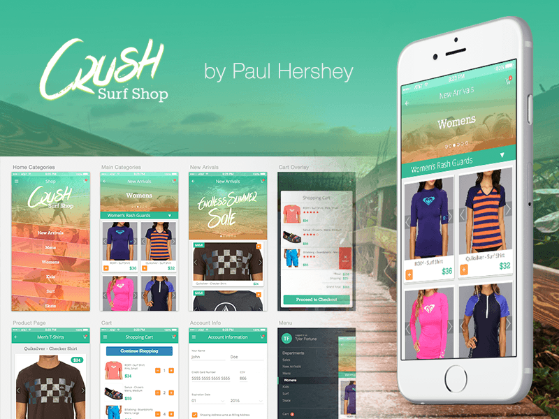 Crush Surf Shop - Free Mobile Store Template for Sketch Sketch ...