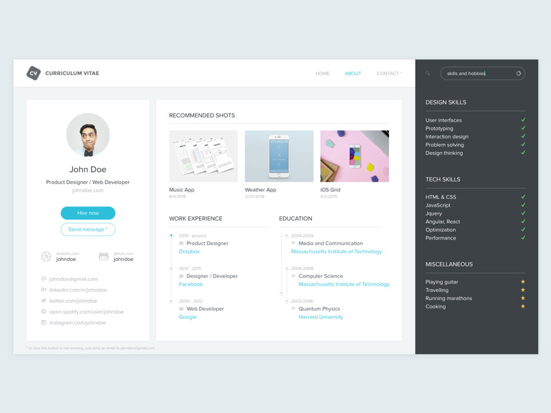 Resume, Curriculum Vitae (CV) Template Sketch Freebie   Download Free  Resource For Sketch   Sketch App Sources