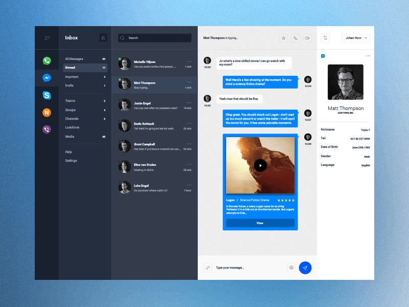 Desktop and Mobile Chat Dashboard