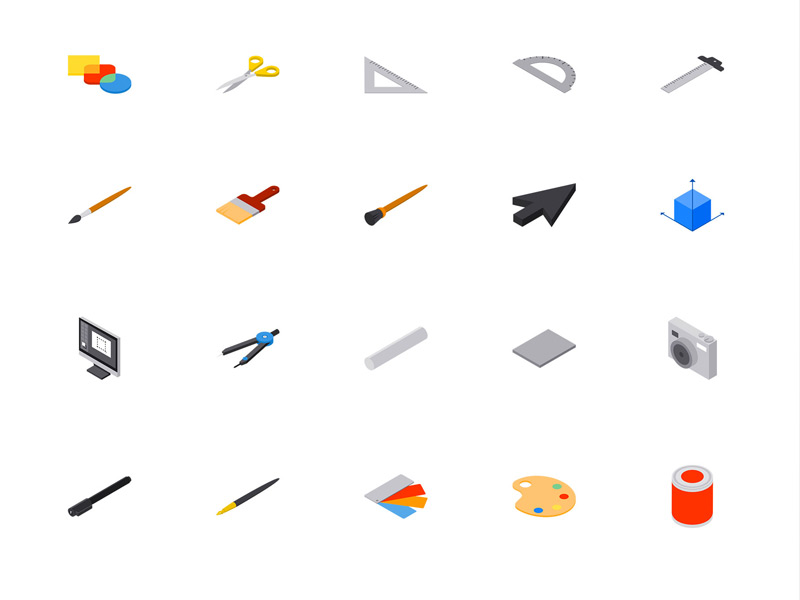 Isometric Design Tools and Icons