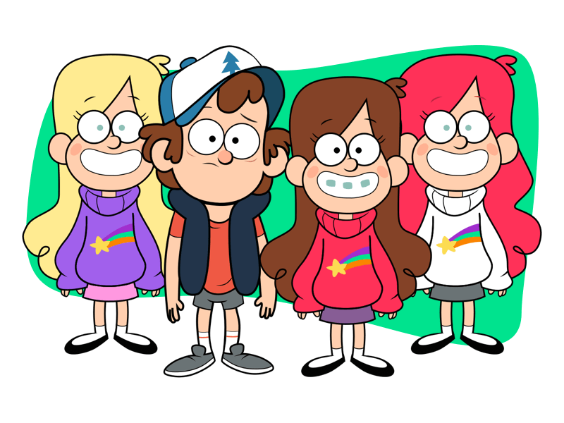 Dipper Pines and Mabel Pines Illustration Sketch freebie