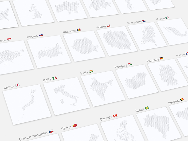 Dotted Maps of 24 Countries