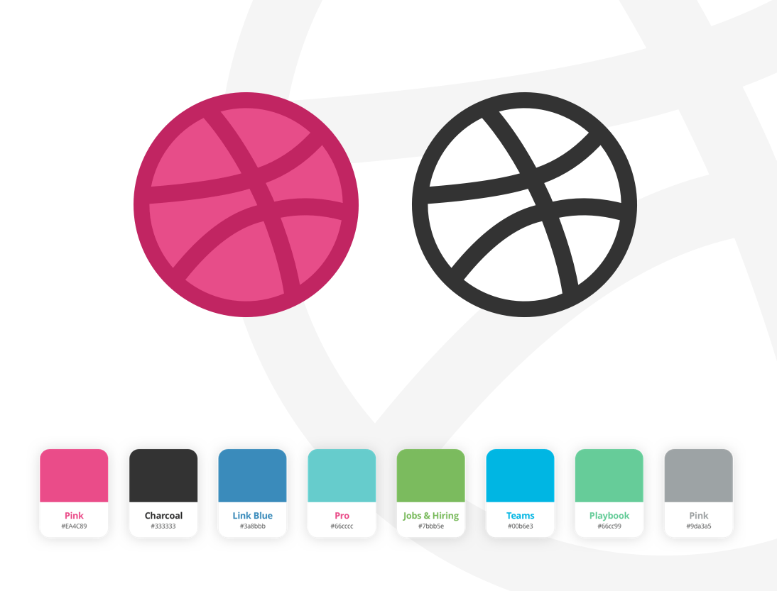 Dribbble Logo and Colors