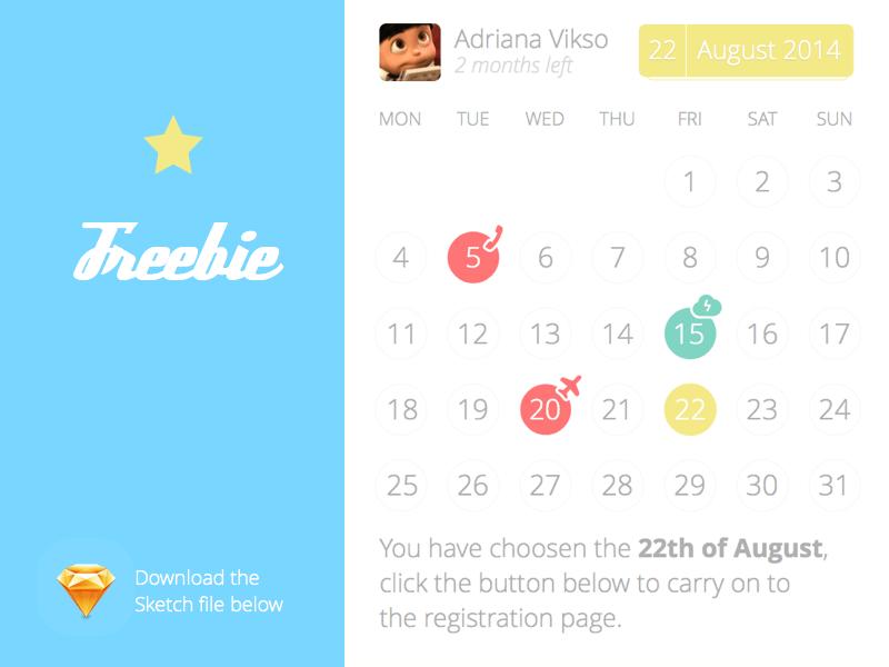 Baby calendar Sketch freebie - Download free resource for