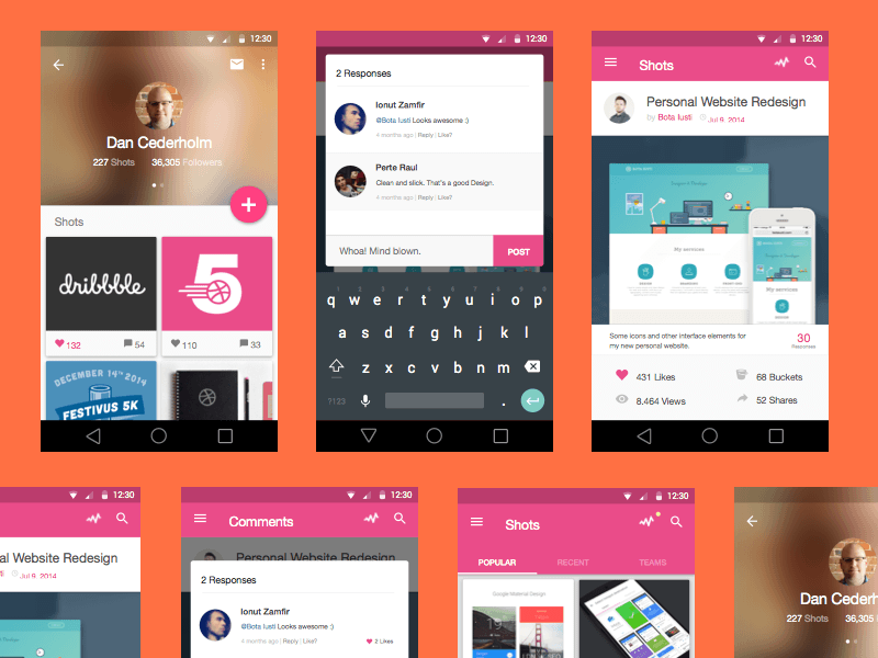 Dribbble App Material Design Concept Sketch Freebie