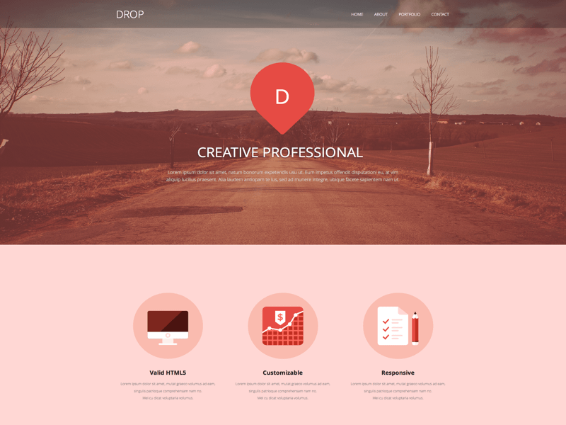 drop single page web template sketch freebie download free