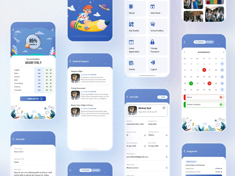 interface designer | School App UI Kit Sketch freebie