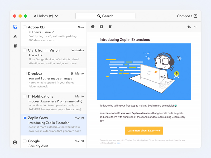 Email Client for Mac Sketch freebie - Download free resource