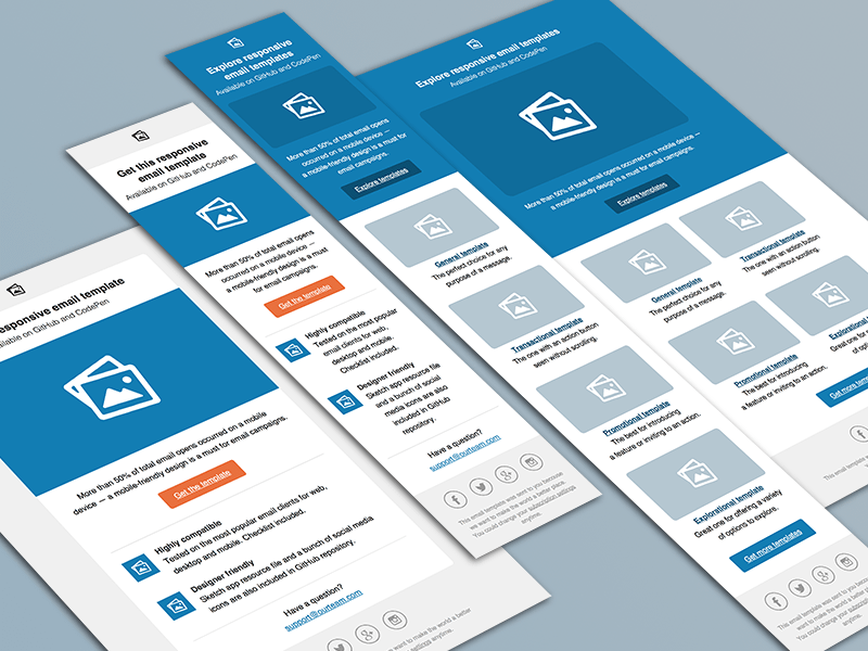 Responsive Email Templates Sketch Freebie Download Free Resource - Free email templates for gmail