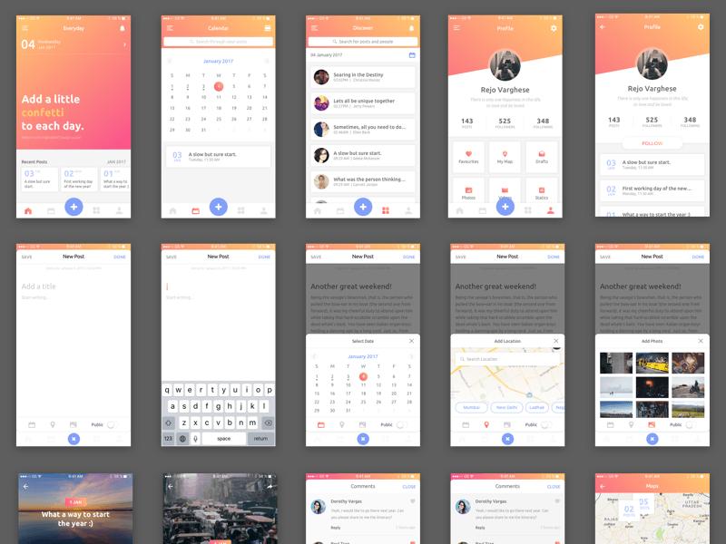 Everyday iOS Journal App Sketch freebie - Download free