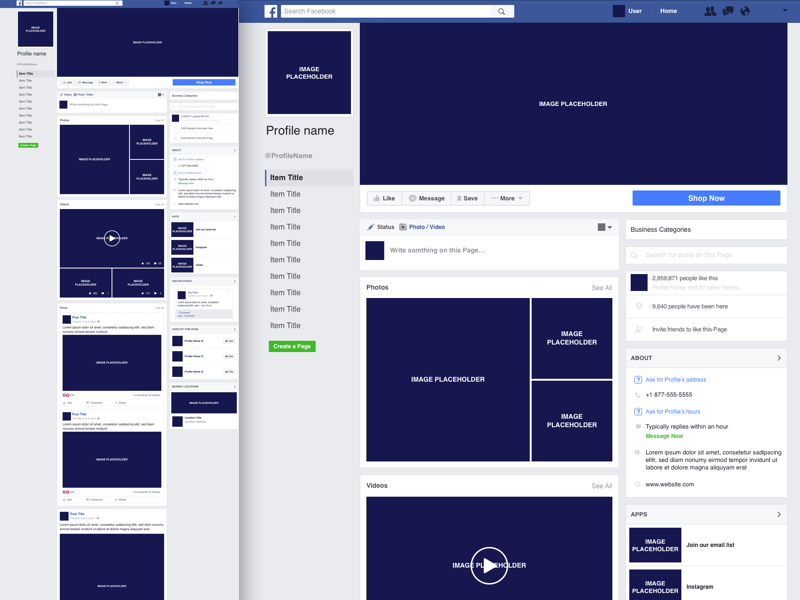 Facebook Business Page Template Sketch Freebie Download Free - About page template
