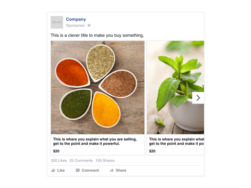 Facebook Desktop Carousel Ad Template