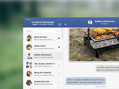 Facebook Messenger UI Sketch freebie - Download free