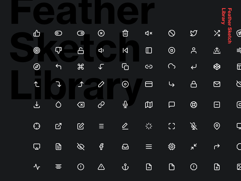 200 Icons - Feather Sketch Library