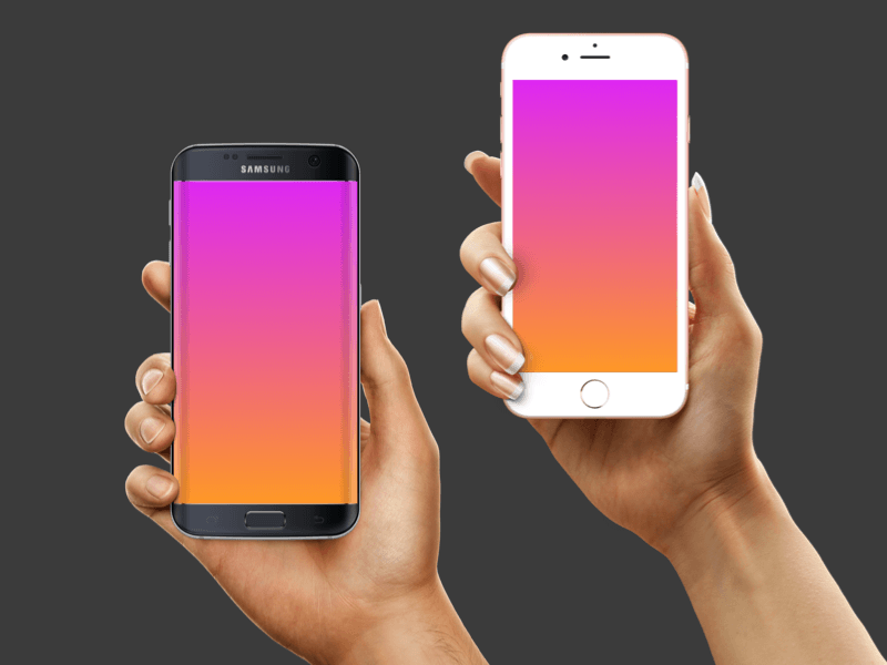Mockup Hands with iPhone and Samsung