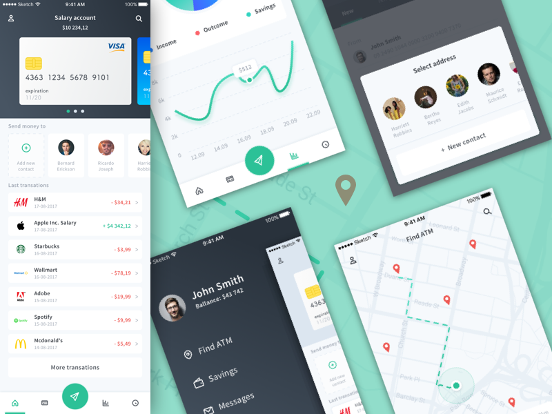 personal finance concept app sketch freebie download free