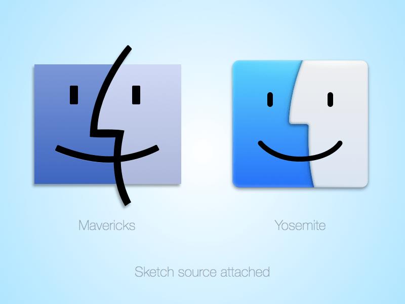 apple mavericks vs yosemite finder sketch freebie download free