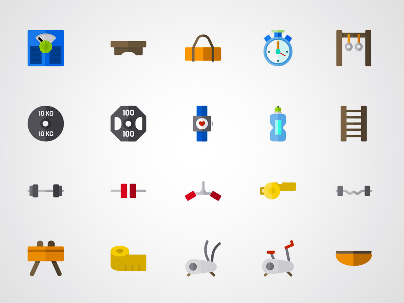 Colorful Fitness Equipment Icons