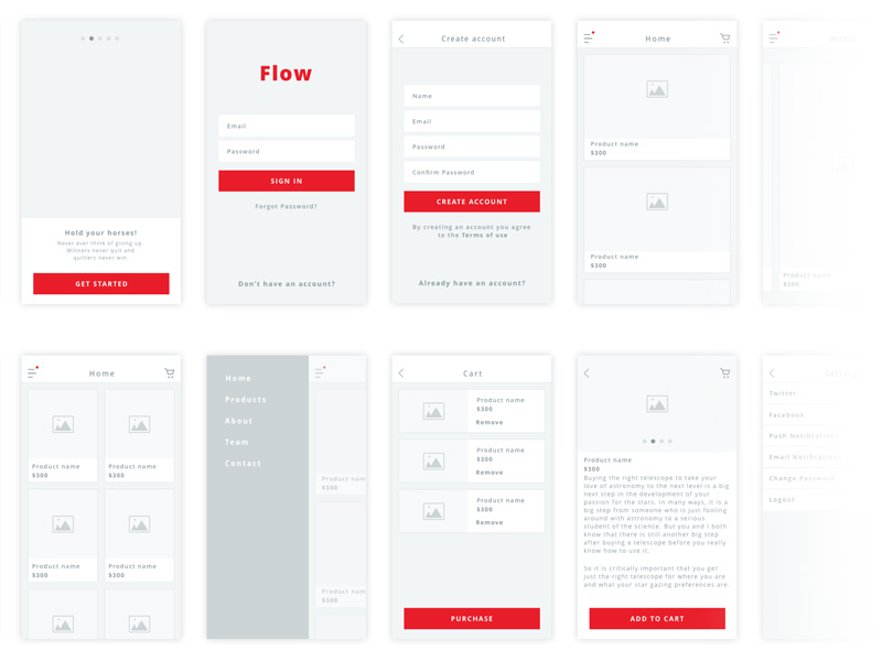 flow - ios wireframe kit sketch freebie - download free resource for sketch