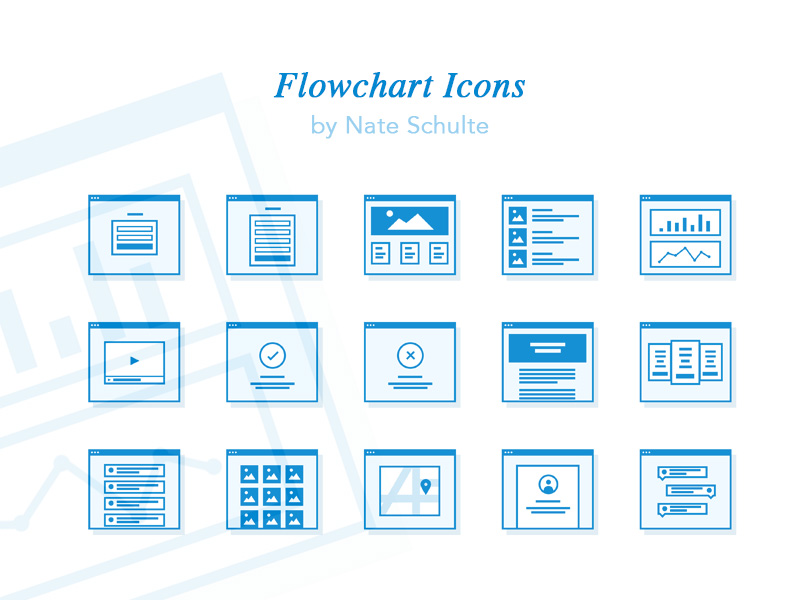 flowchart icon set sketch freebie download free resource for