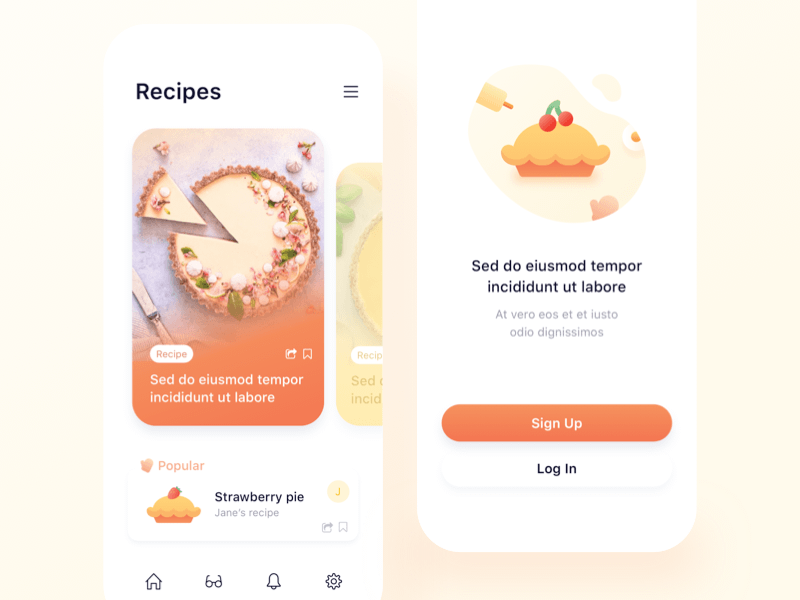 Pie Recipes App Concept
