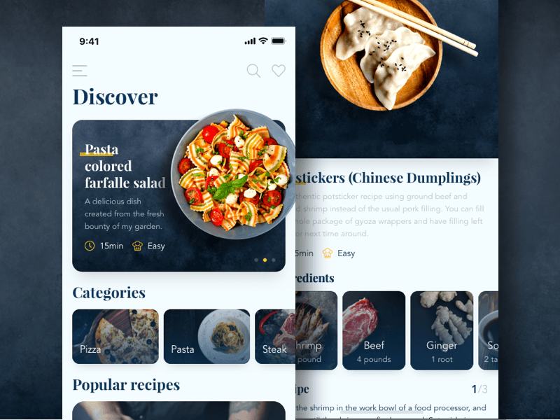 Recipes App Screens
