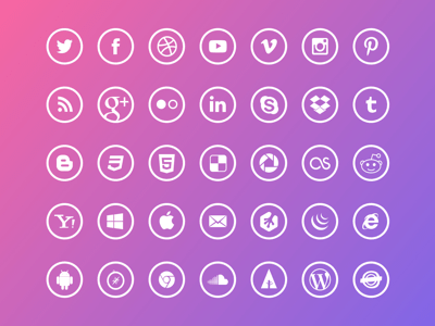Free Outline Social Icons
