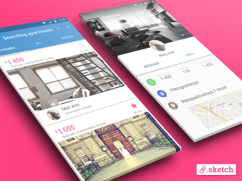 Apartments Search App in Material Design Style