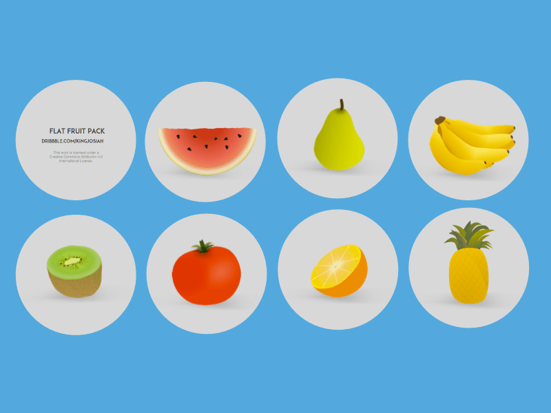 Flat Cartoon Fruit and Vegetables