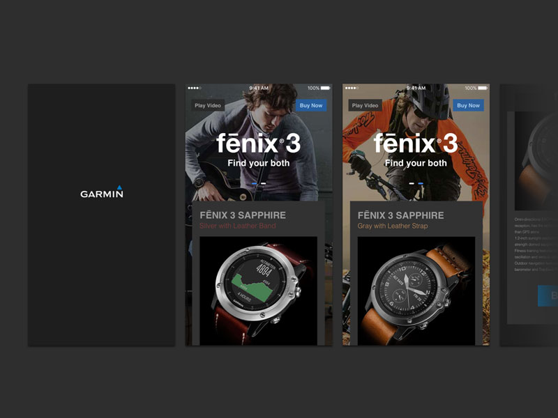 Garmin Fenix3 Shopping UI