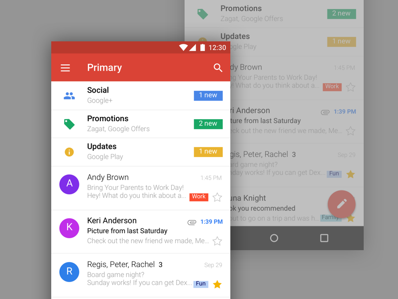 Gmail Mobile UI
