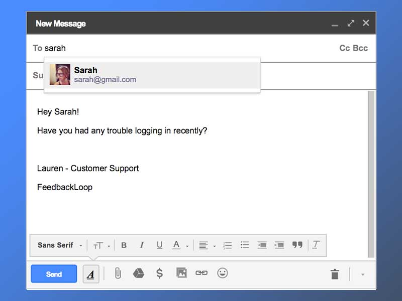 Gmail New Message UI