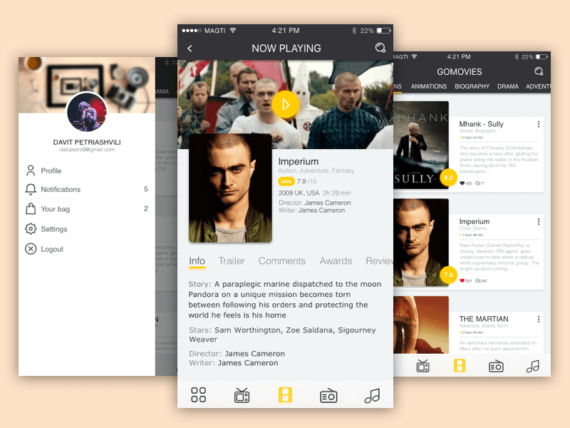 GoMovies iOS App Sketch freebie - Download free resource for Sketch - Sketch App Sources