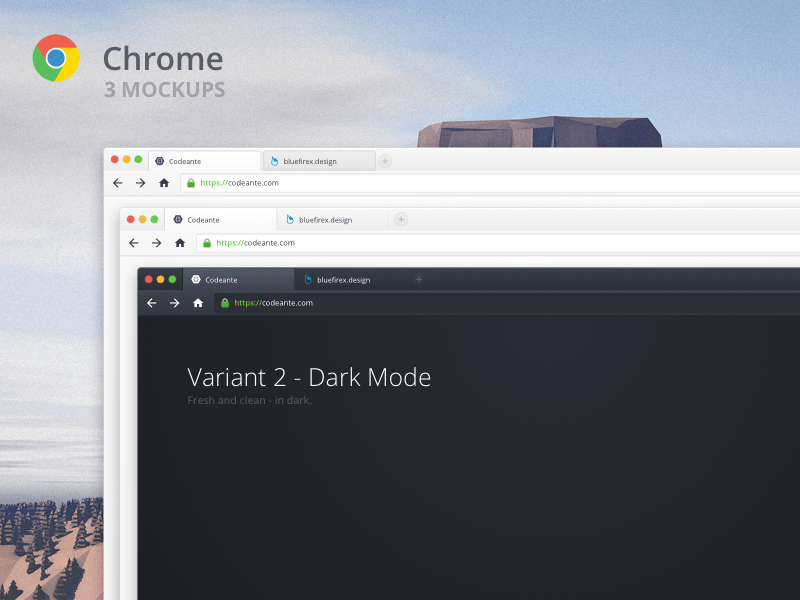Google Chrome Dark Theme Mock Sketch freebie - Download free