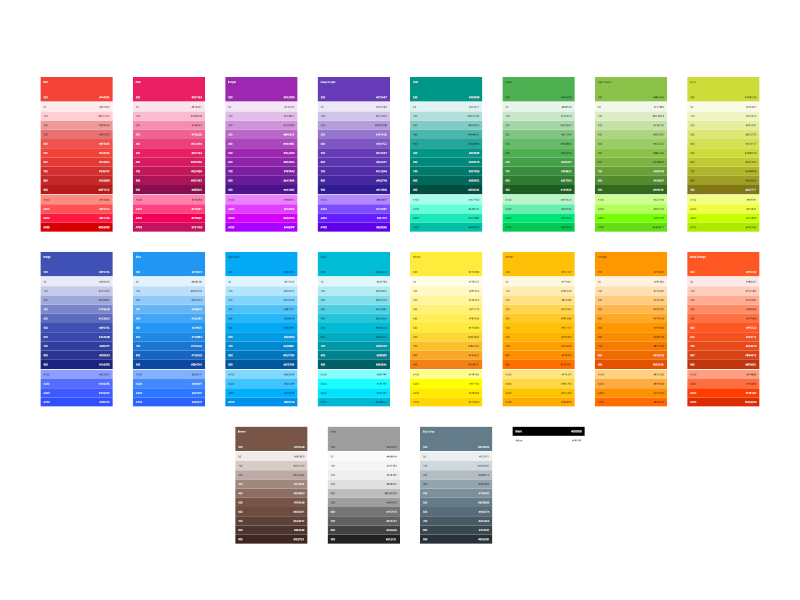 Material Design Color Swatches