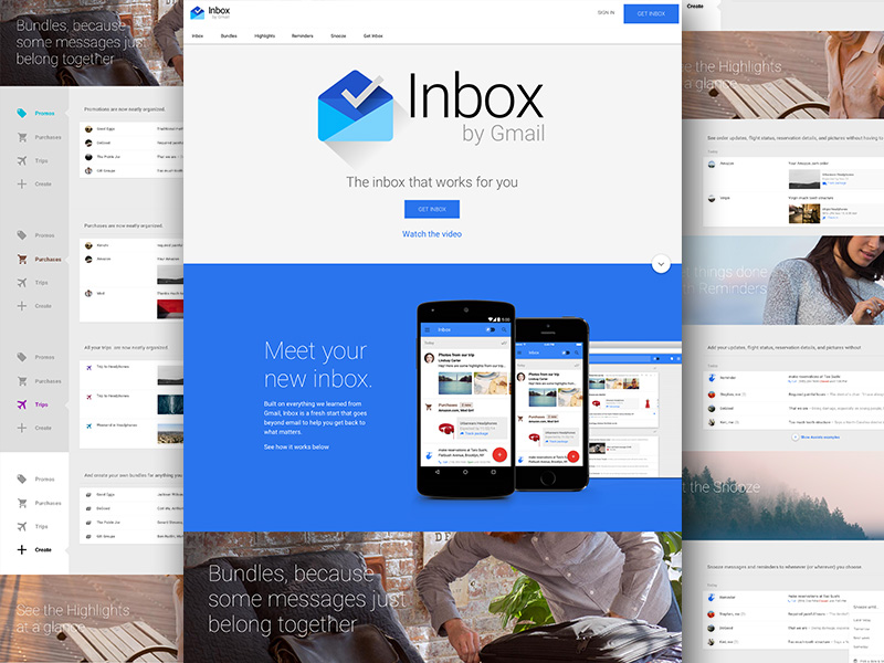 Google Inbox Web UI Sketch freebie - Download free resource