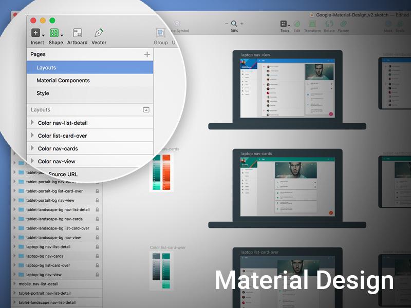 Material Design Sketch Template v2 Sketch freebie - Download free