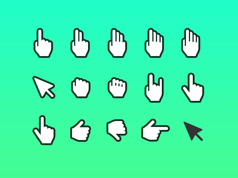 hand cursor icons for wireframes and mocks sketch freebie