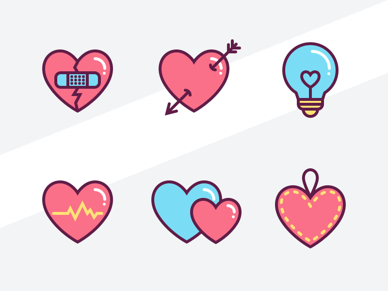 6 heart icons sketch freebie download free resource for