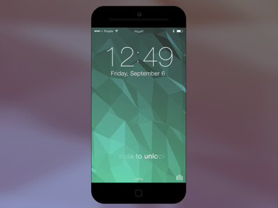 iOS 7 lock screen and iPhone 6 concept mockup