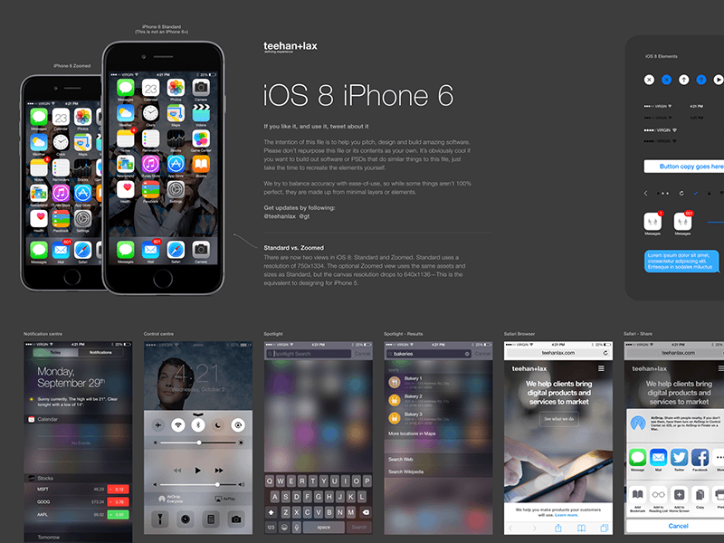 iOS 8 UI Elements and Templates for Sketch App Sketch