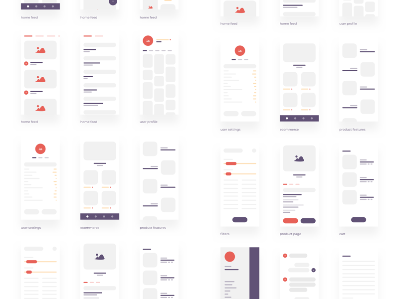Low-fidelity App Wireframe Kit