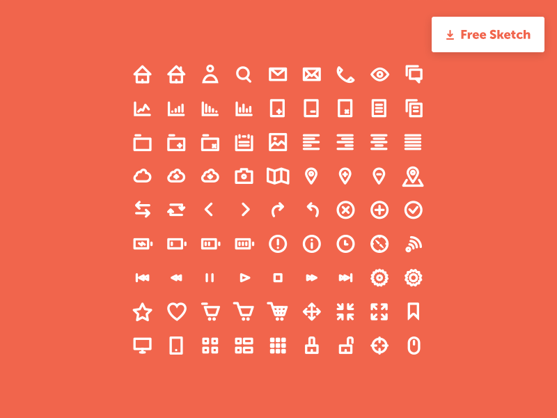 Minimal Icons Set Basic Sketch freebie - Download free